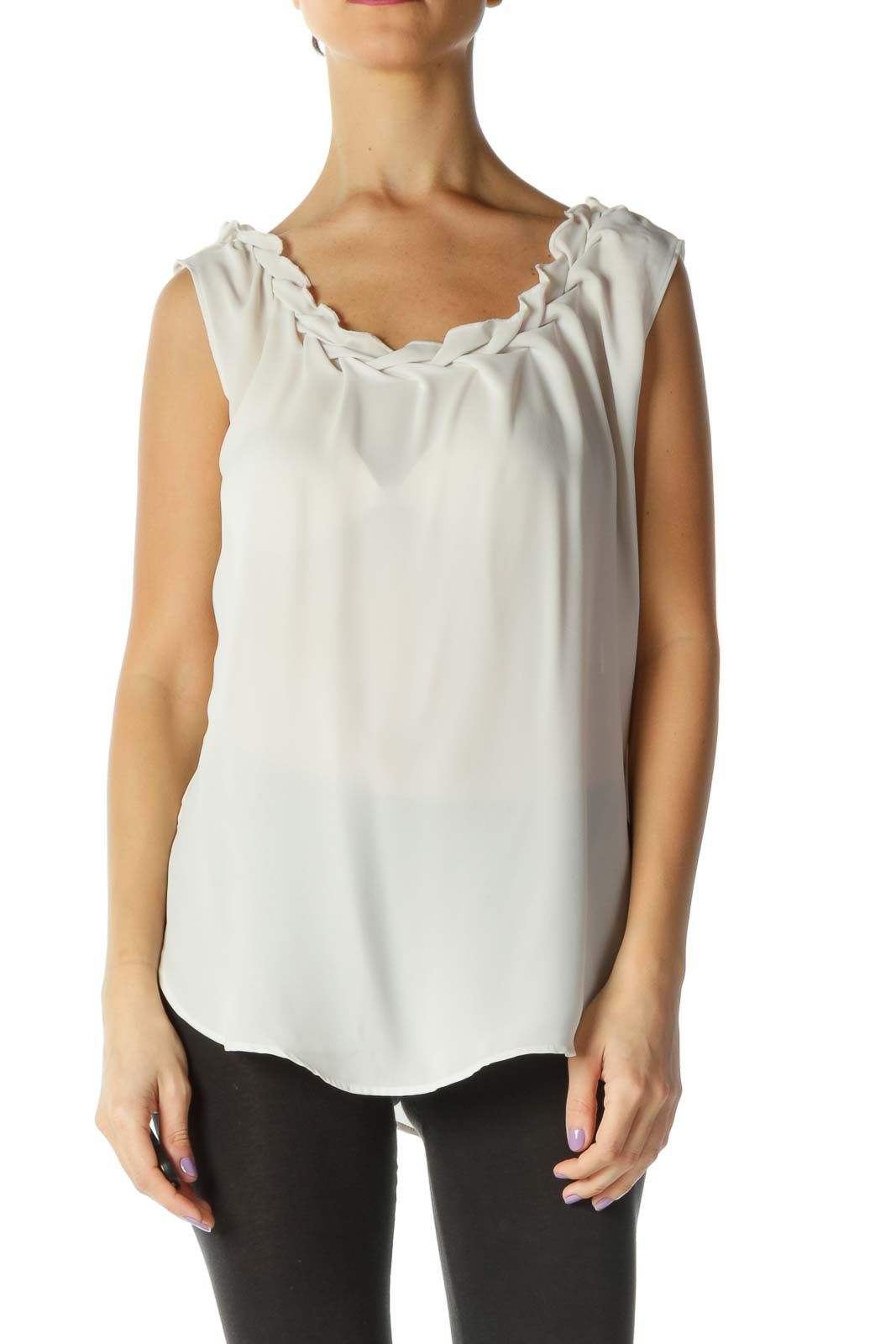 Beige Solid Casual Blouse Front