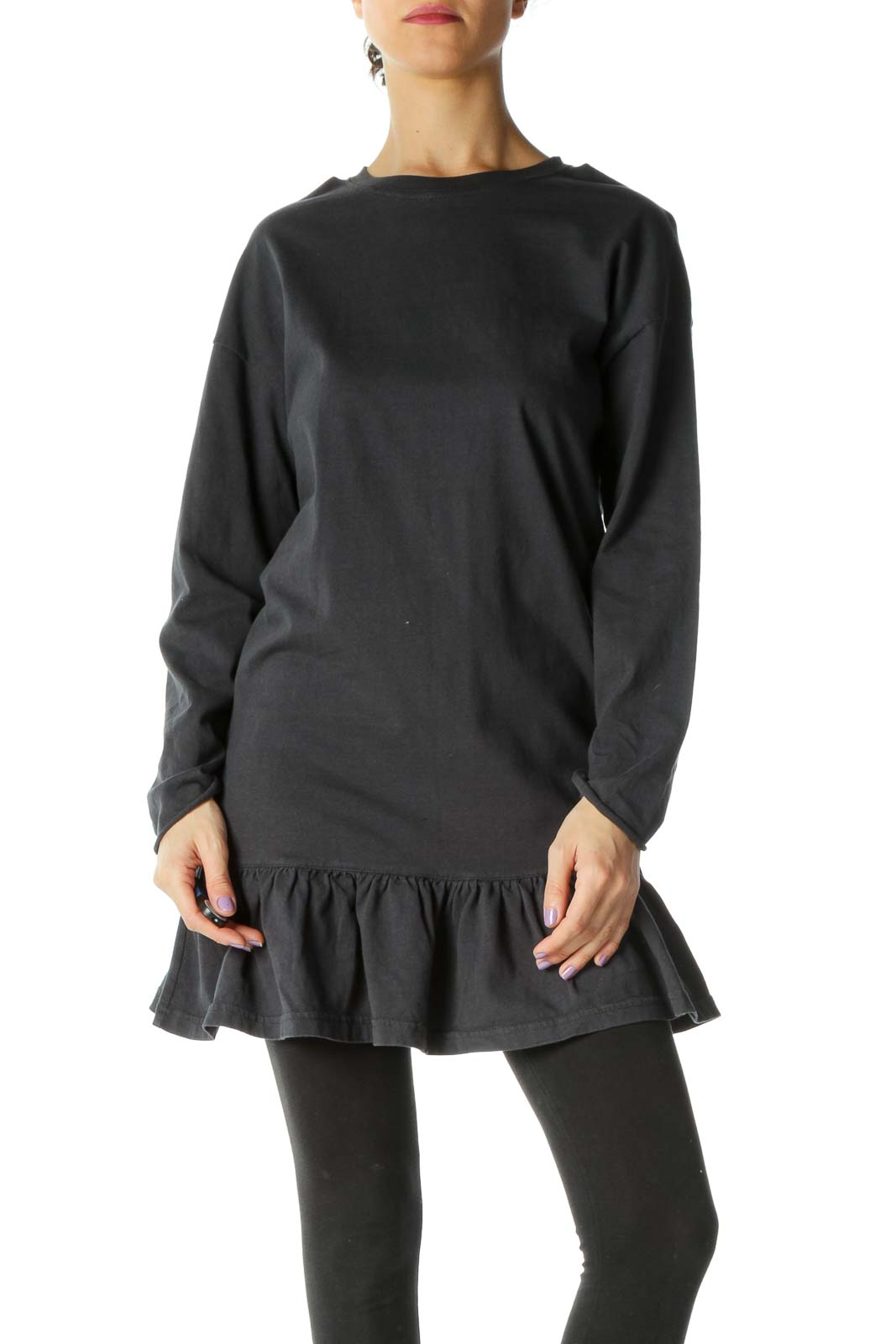 Black Solid Casual Tunic Front