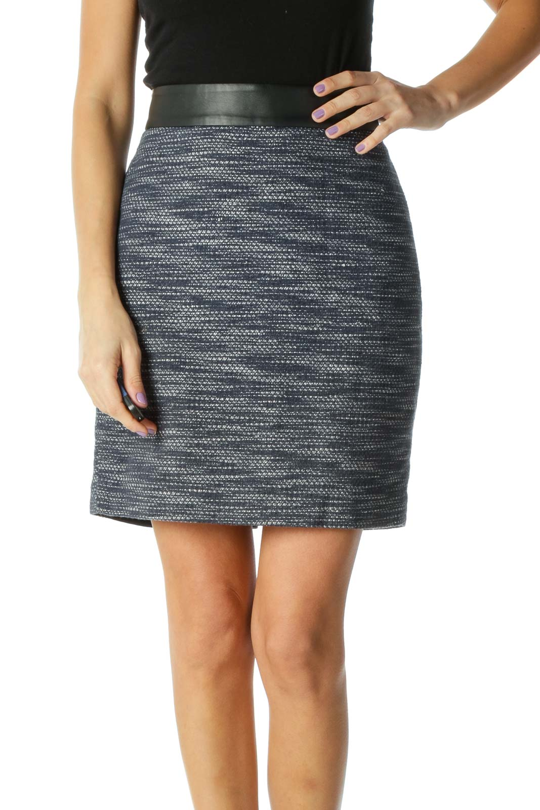 Blue Striped Chic Pencil Skirt Front