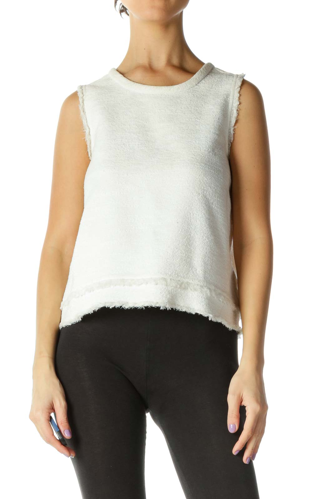 White Solid Casual Blouse Top Front