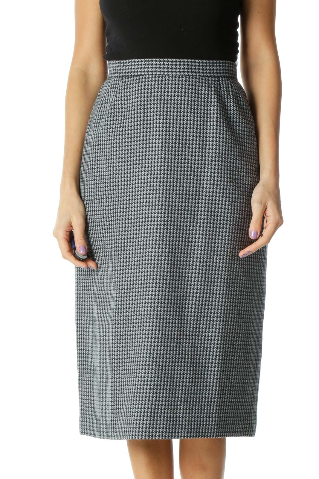 Gray Checkered Classic Straight Skirt Front