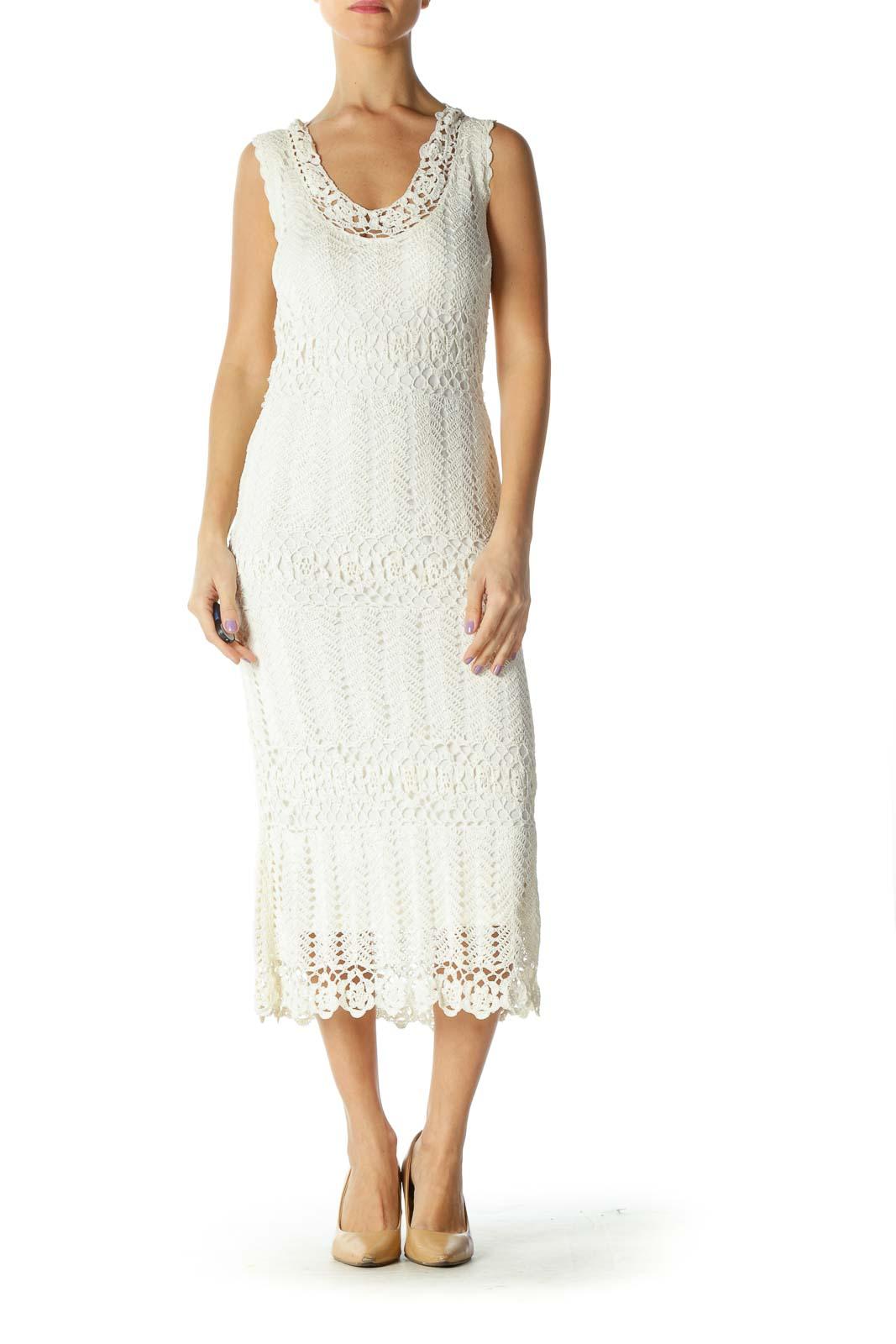 Cream Knit Retro Dress Front