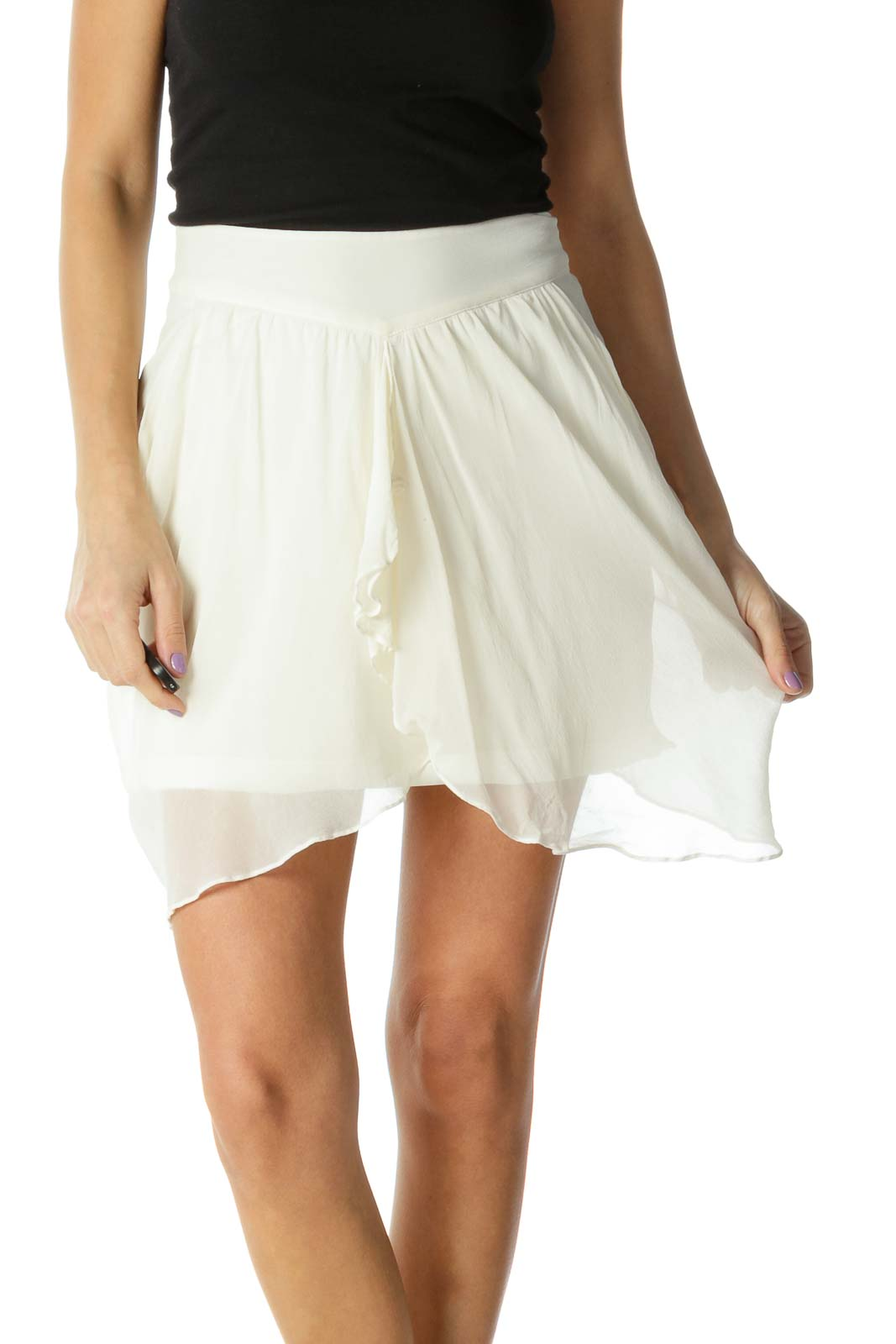 White Solid Chic Flared Skirt Front