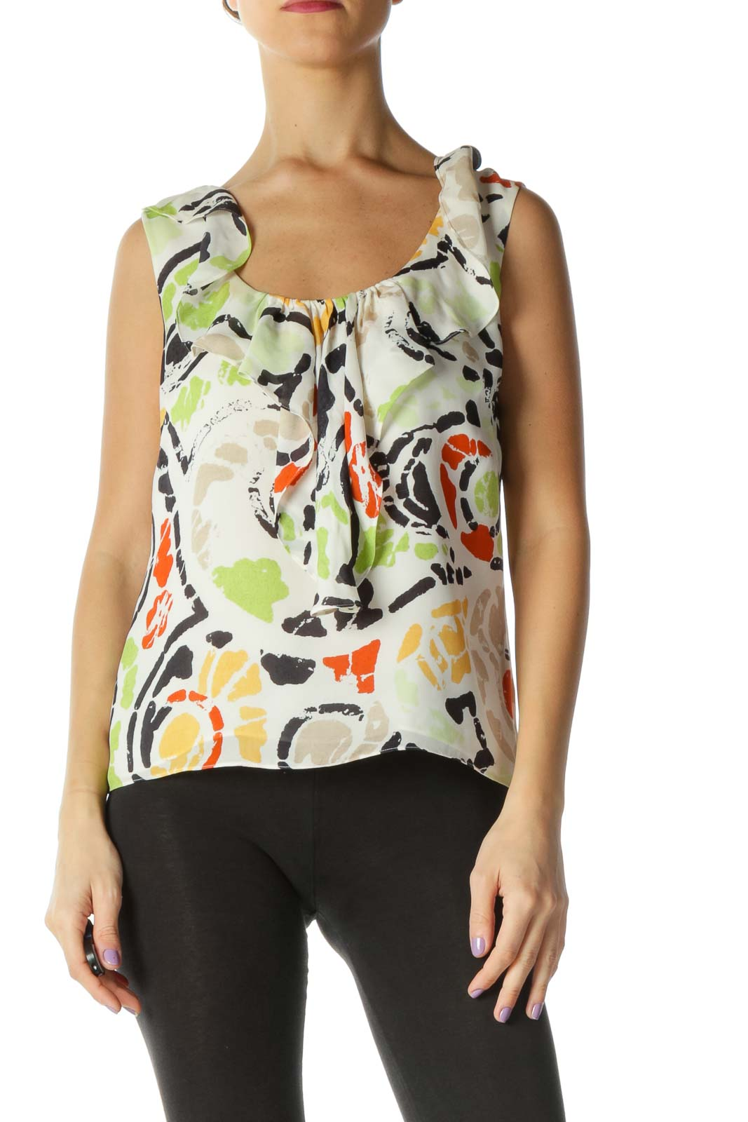 Beige Graphic Casual Tank Top Front