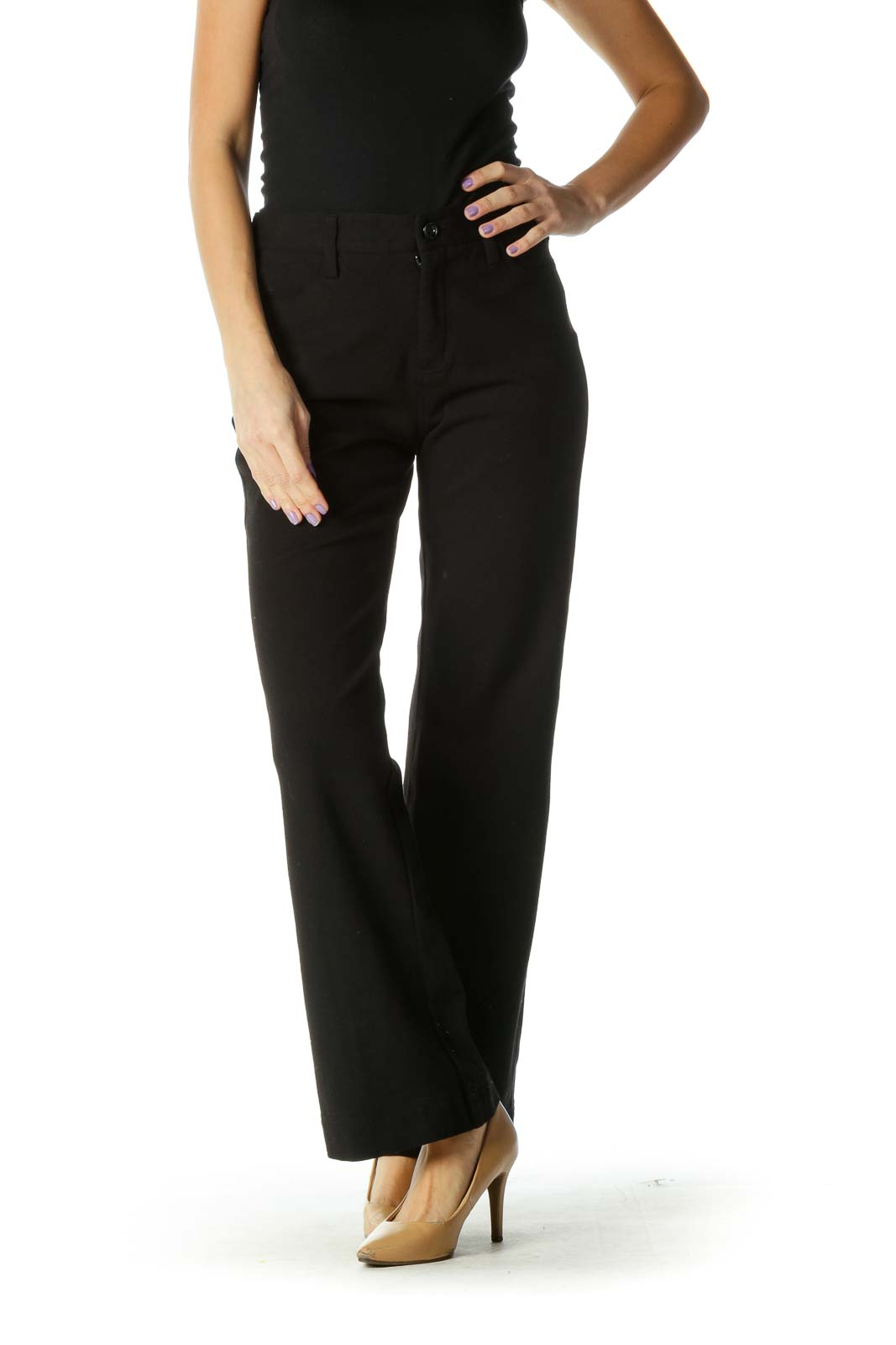 Black Solid Classic Trouser Pant Front