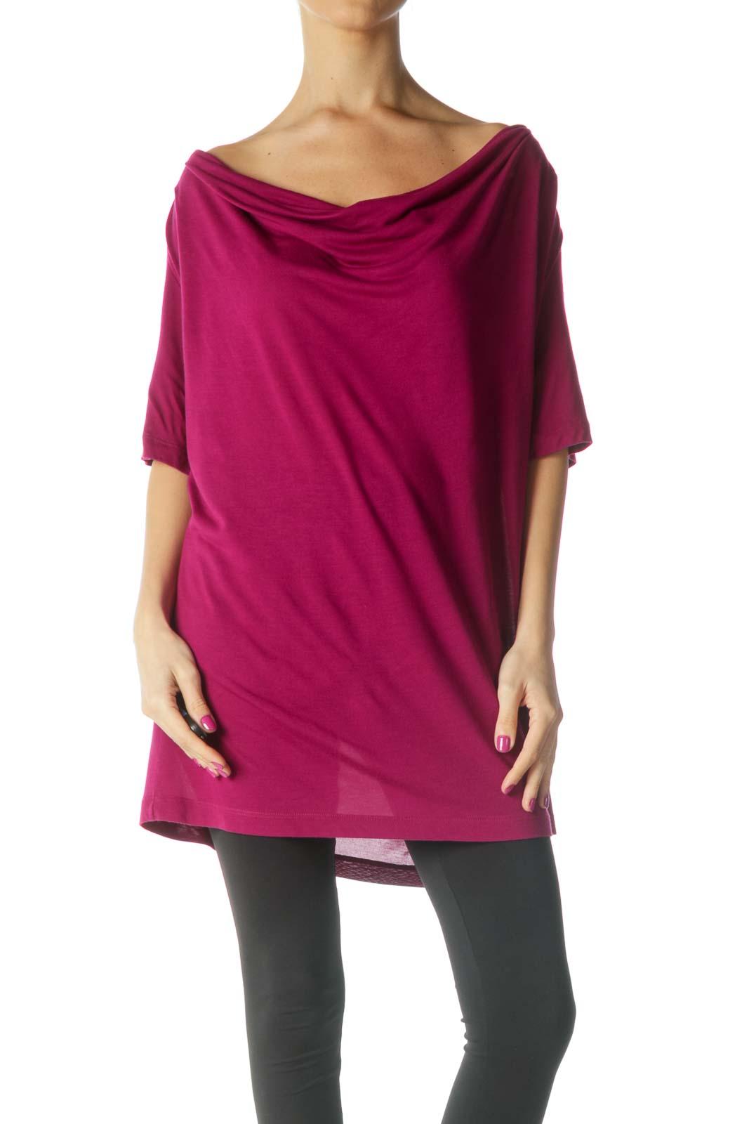 Magenta Draped Shirt Front