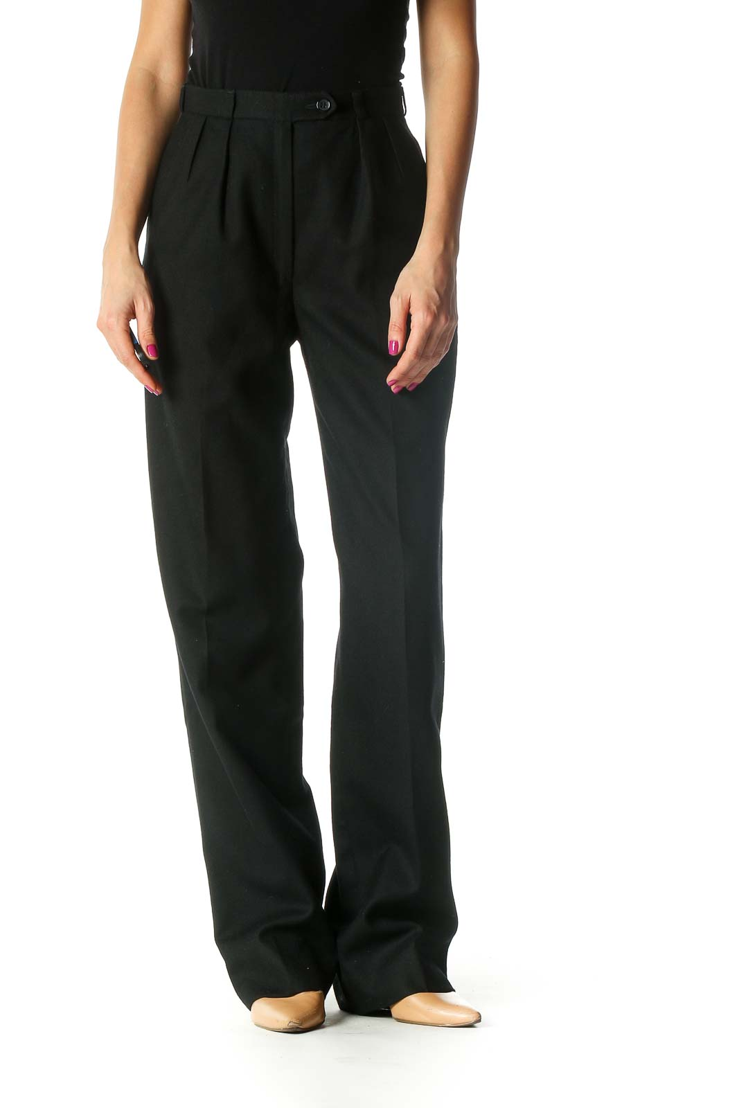 Black High-Waisted Straight-Leg Wool Pants Front