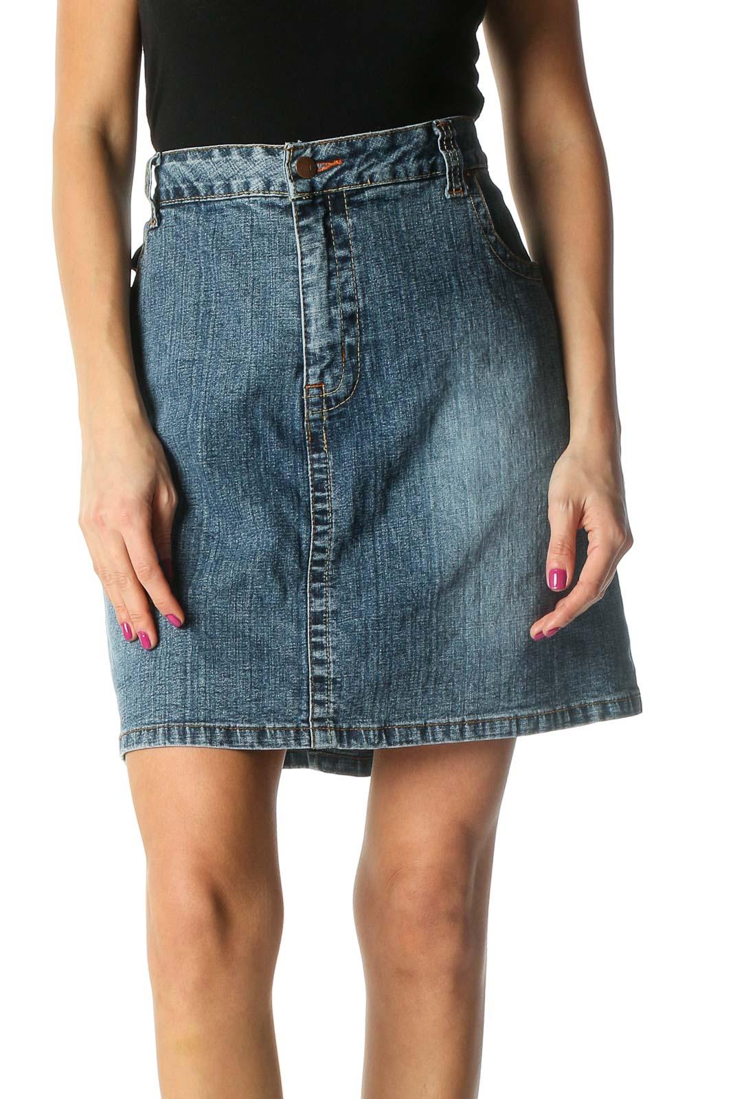 Blue Denim Mini A-Line Skirt Front