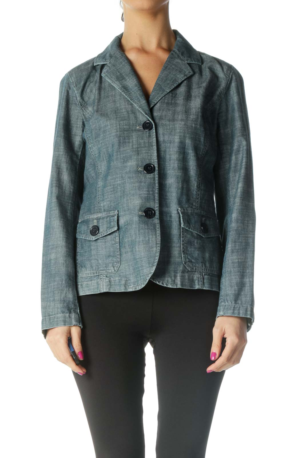 Blue Denim Pocketed Blazer Front
