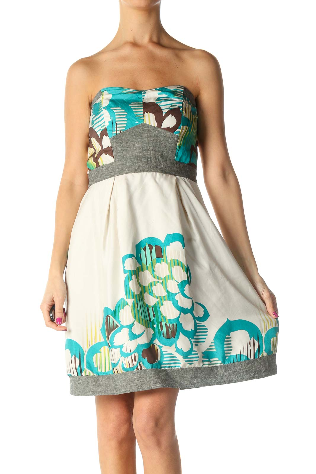 White Graphic Print Chic A-Line Dress Front