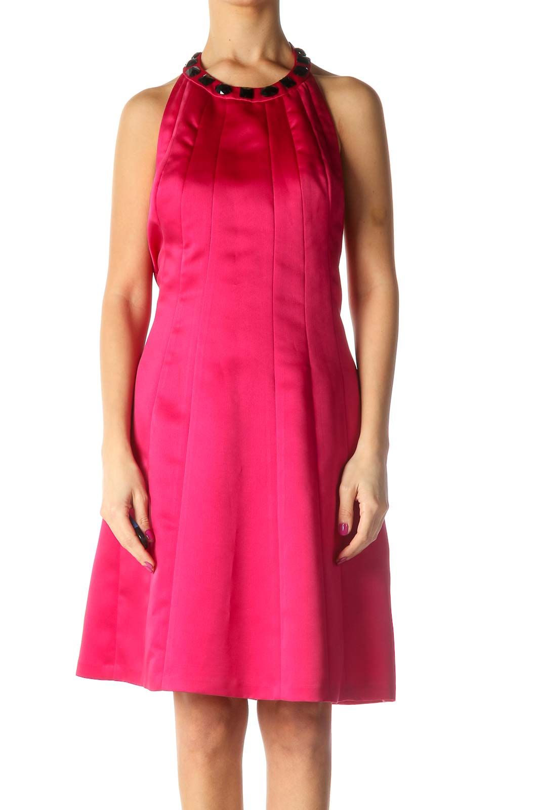 Pink Solid A-Line Dress Front