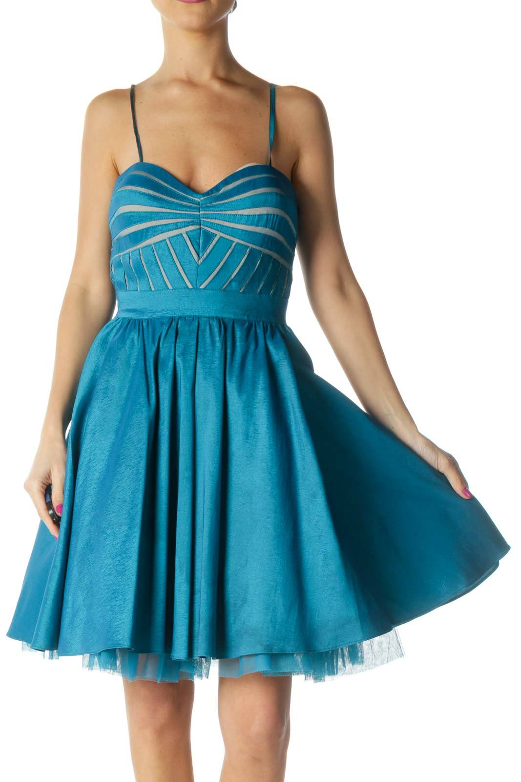 Blue Solid Fit Flare Dress Front