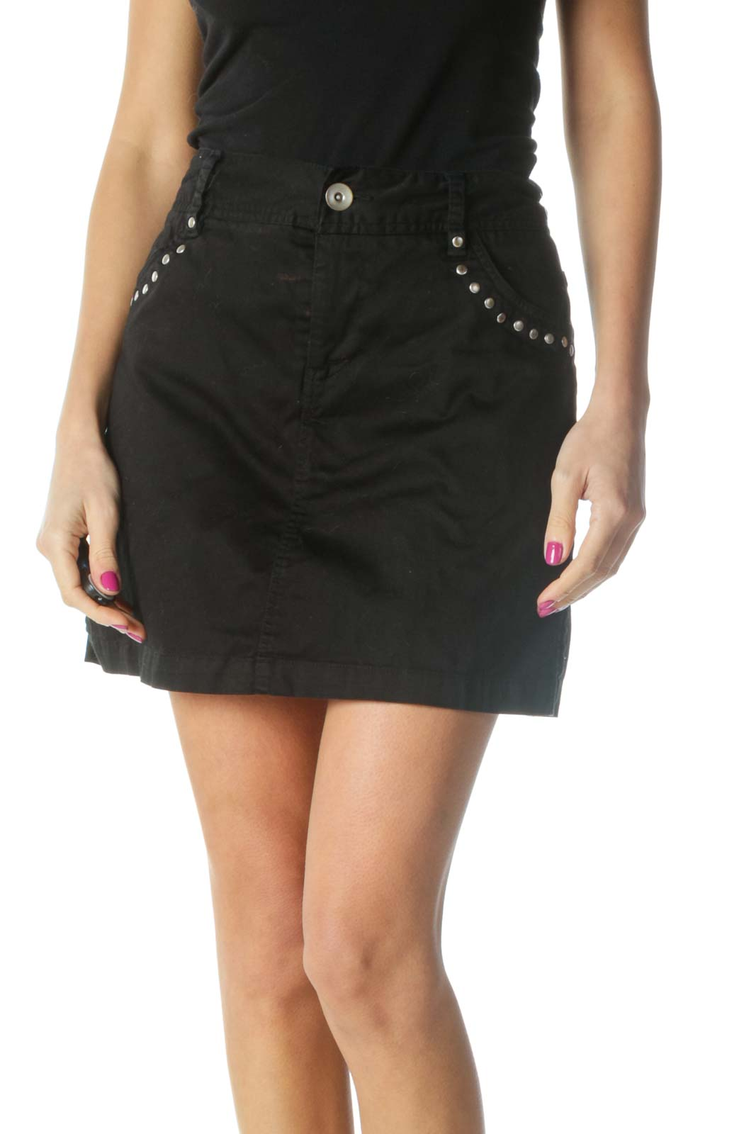 Black Solid Chic Mini Skirt Front
