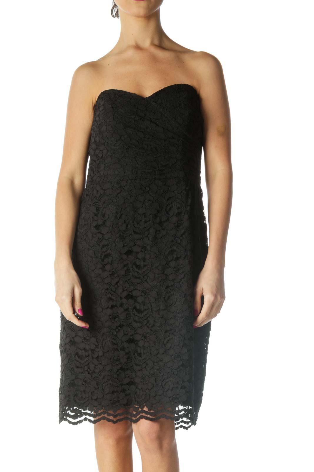 Black Lace Chic Sheath Dress Front