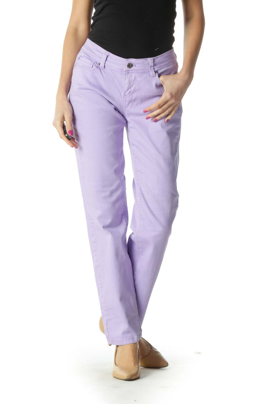 Purple Casual Skinny Jeans Front
