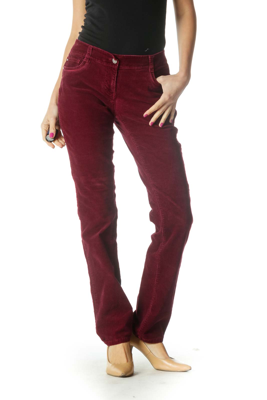 Red Casual Corduroy Pants Front