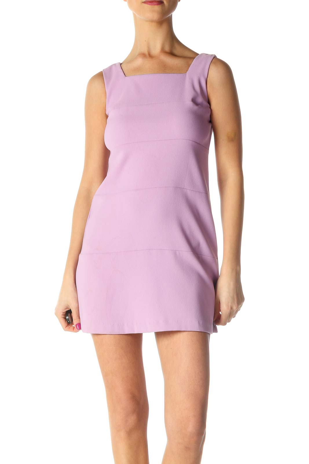 Pink Solid Chic A-Line Dress Front