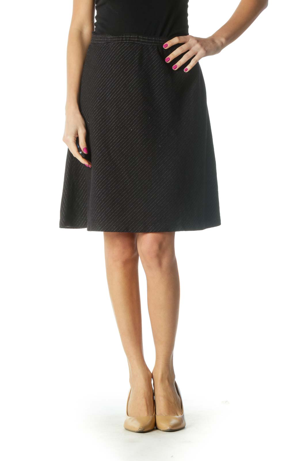 Black Striped A-Line Skirt Front