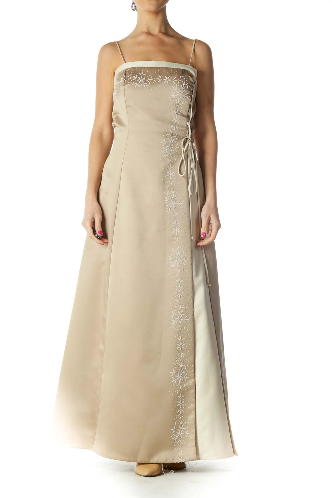 Beige Solid Chic Column Dress Front