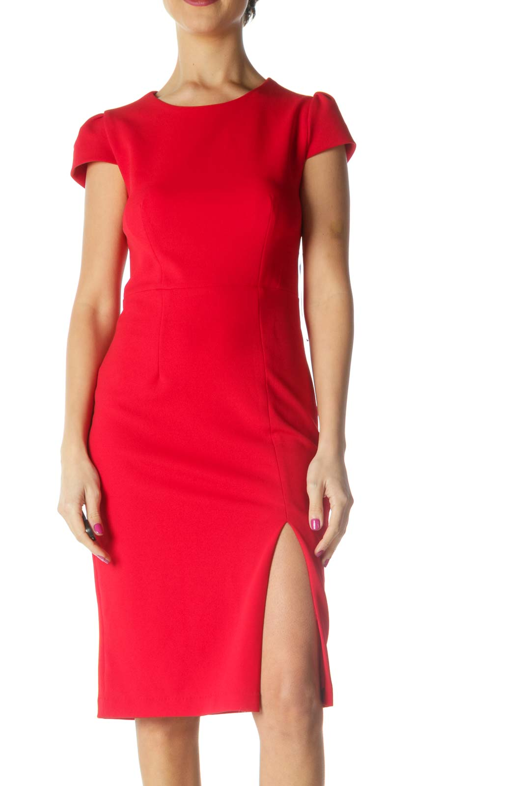 Red Solid Casual Sheath Dress Front