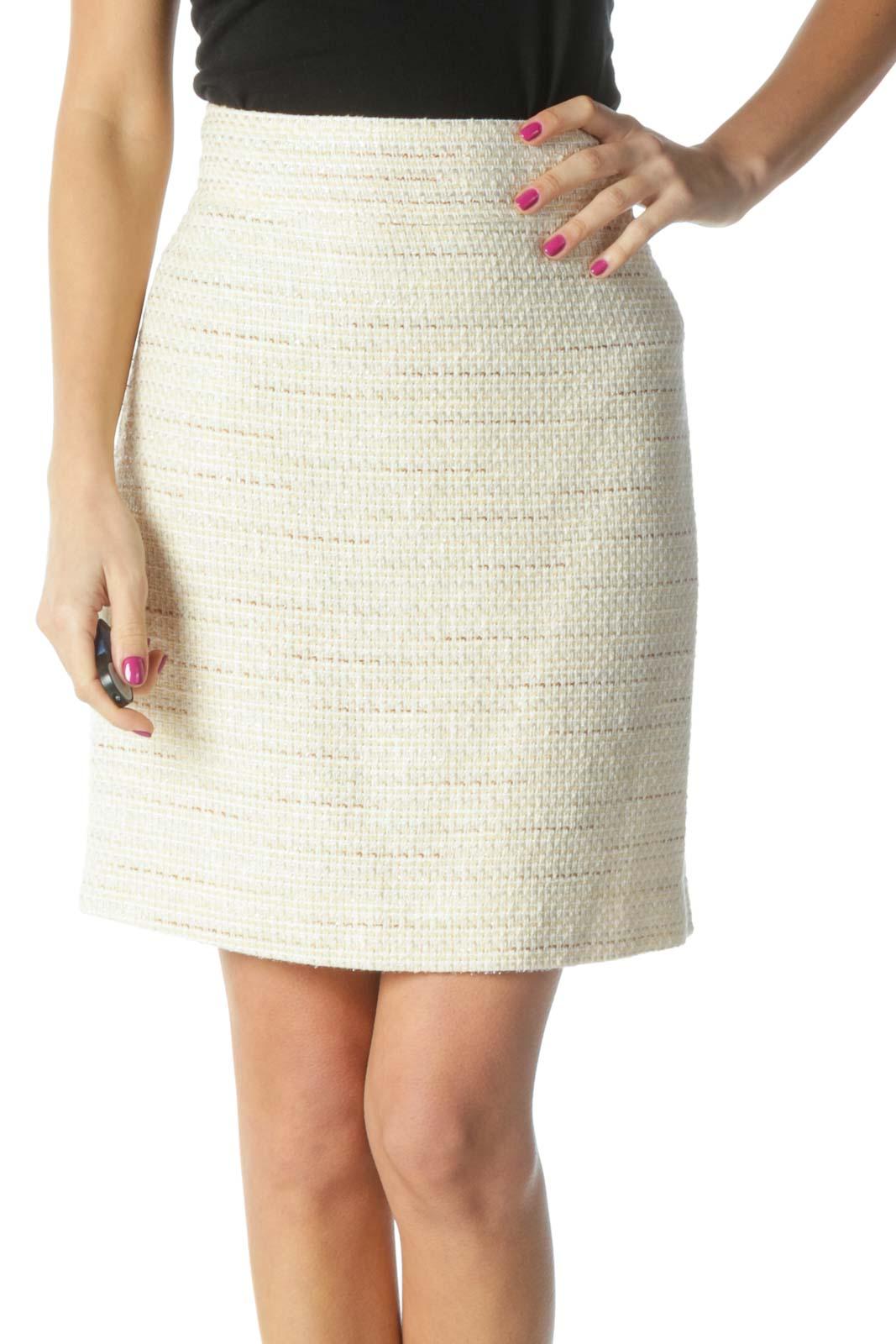 Beige Textured Chic Straight Skirt Front