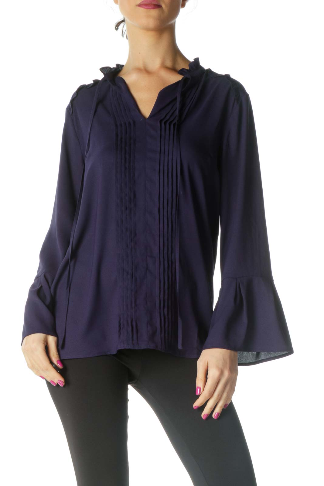 Blue Solid Formal Blouse Front