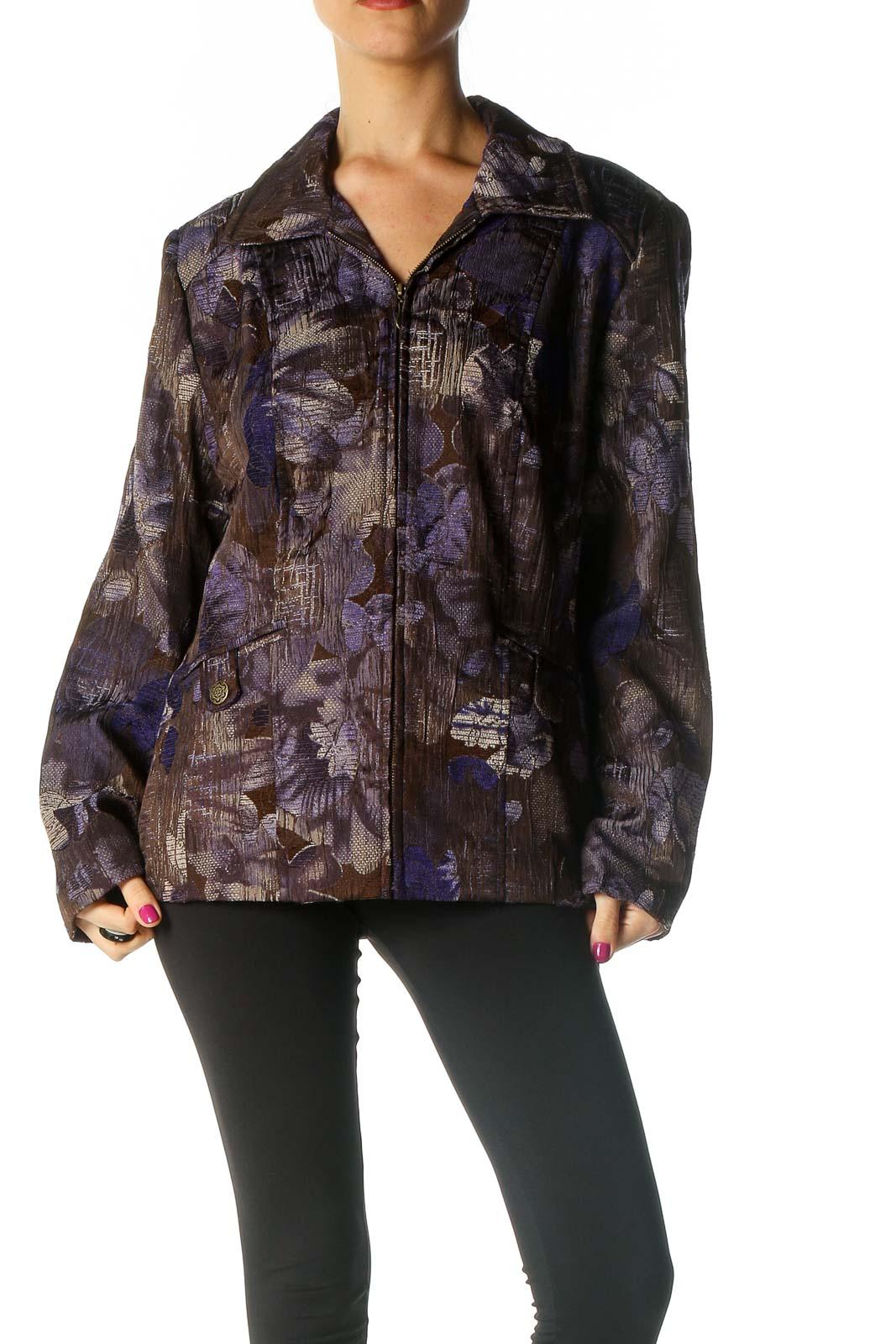 Brown Printed Jacket Front
