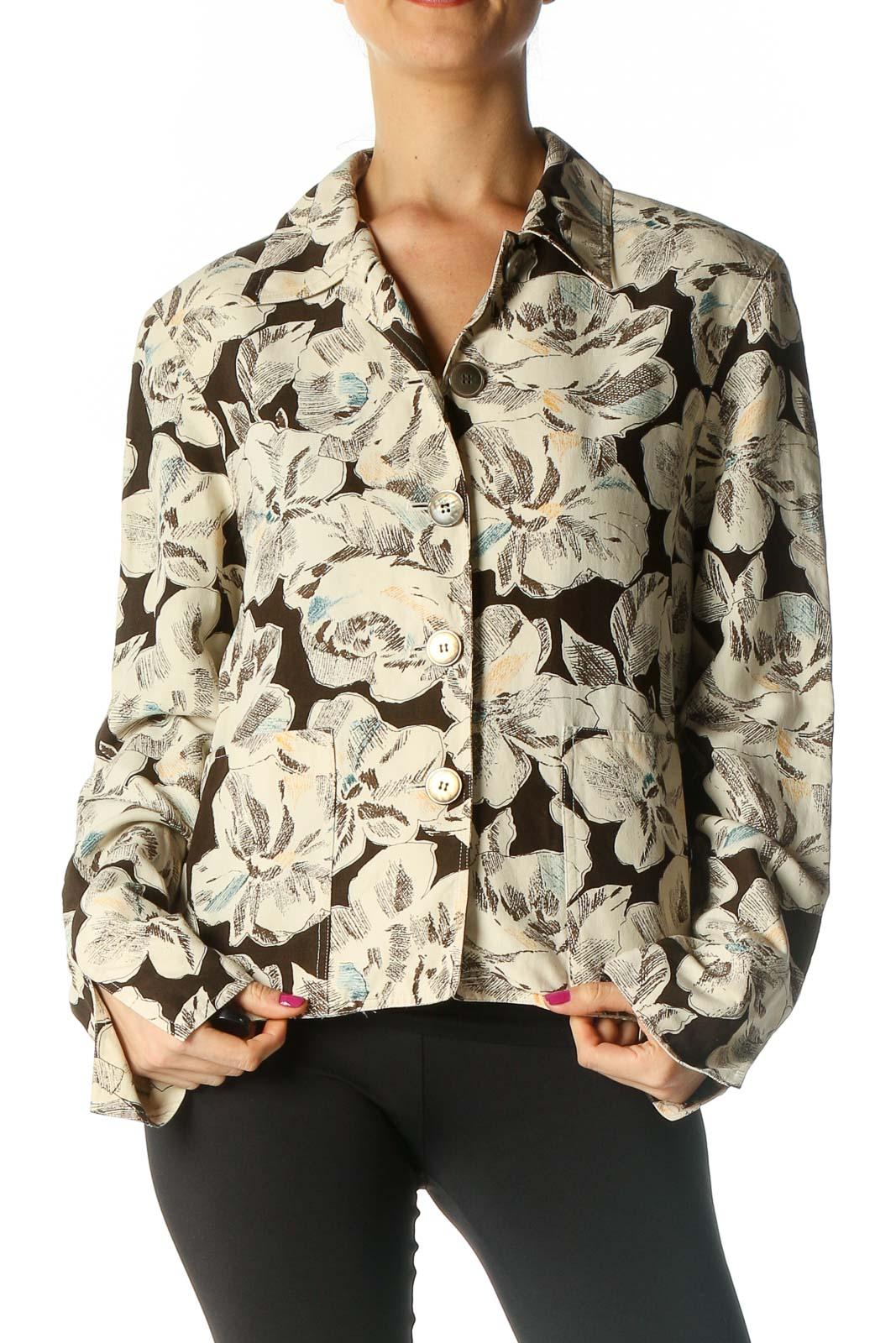 Beige Printed Jacket Front
