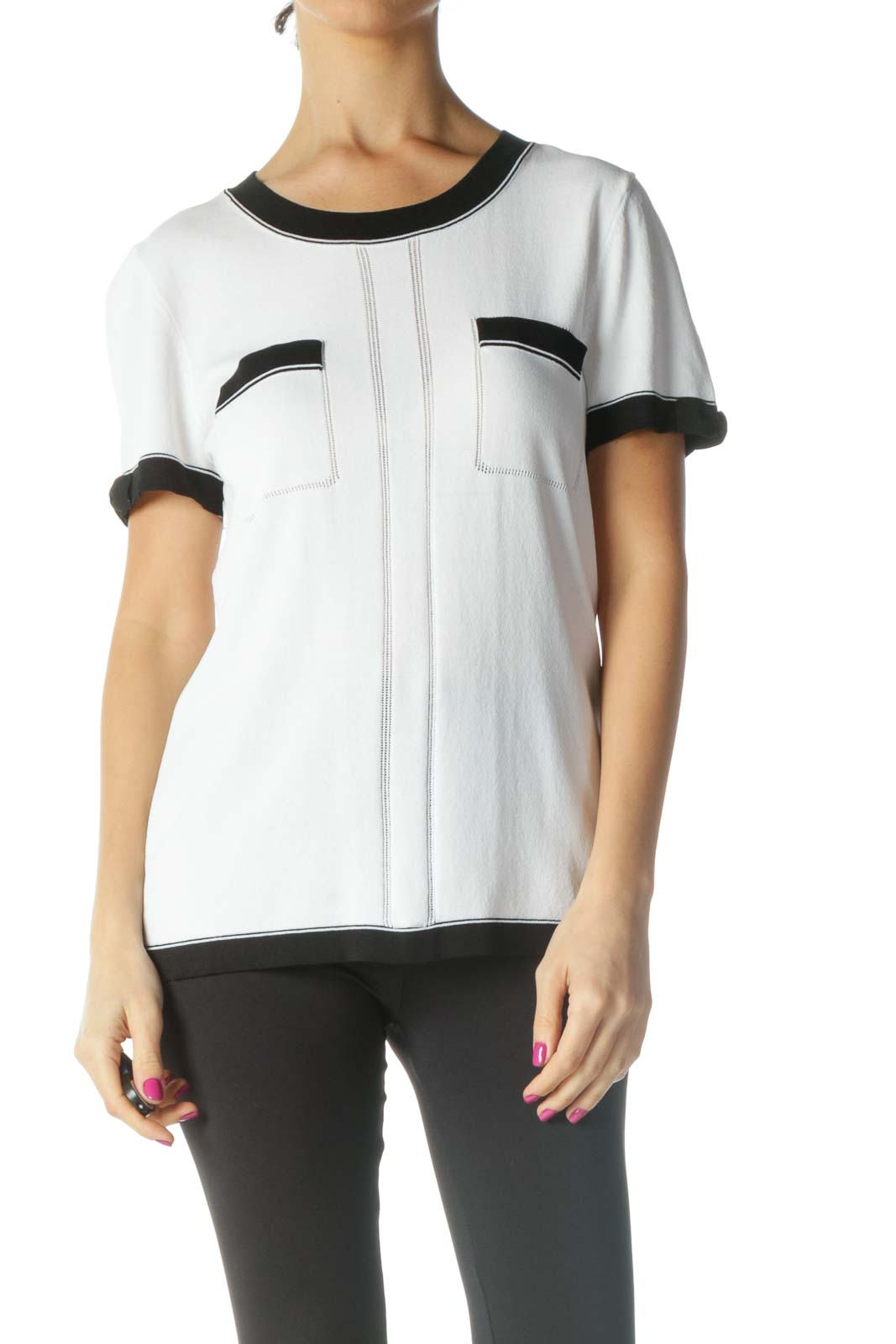 White Solid Casual T-Shirt Front