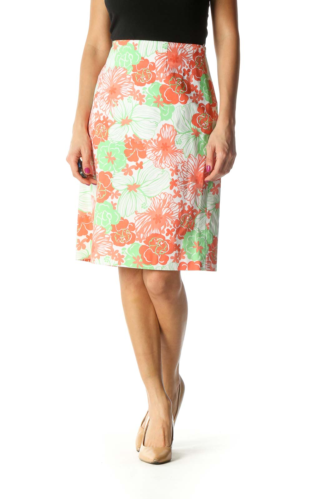 White Printed Straight Skirt Front