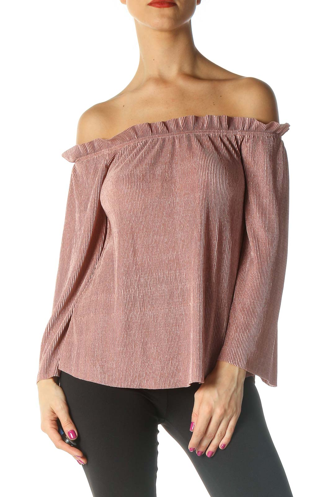 Pink Textured Retro Blouse Front