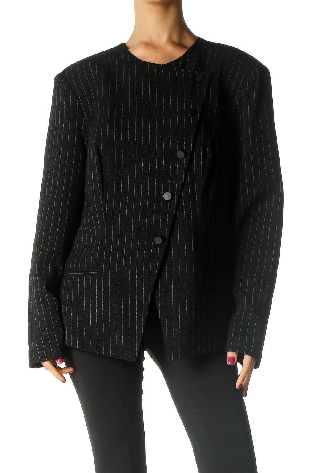 Black Striped Retro Jacket Front