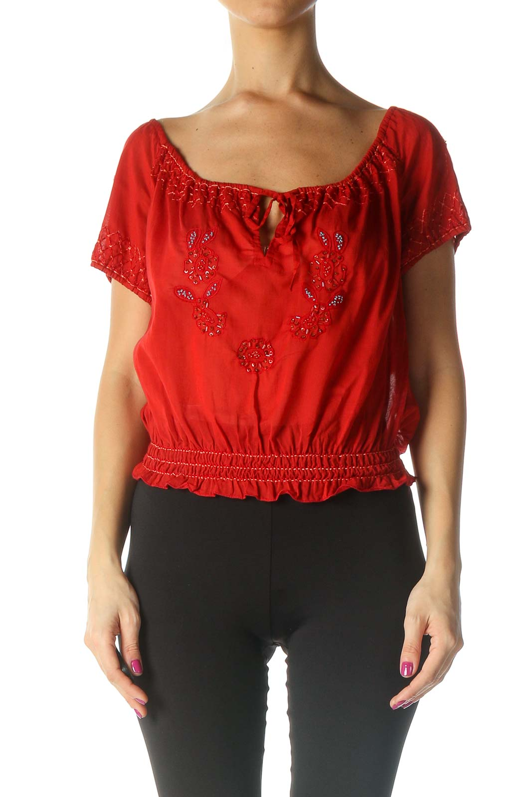 Red Casual Blouse Front