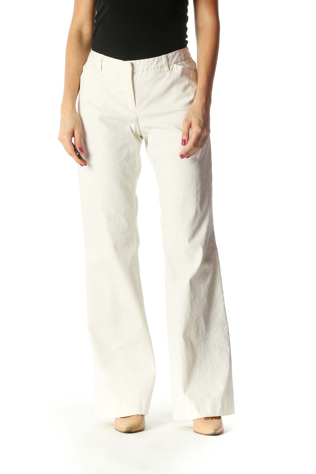 White Solid Trousers Front