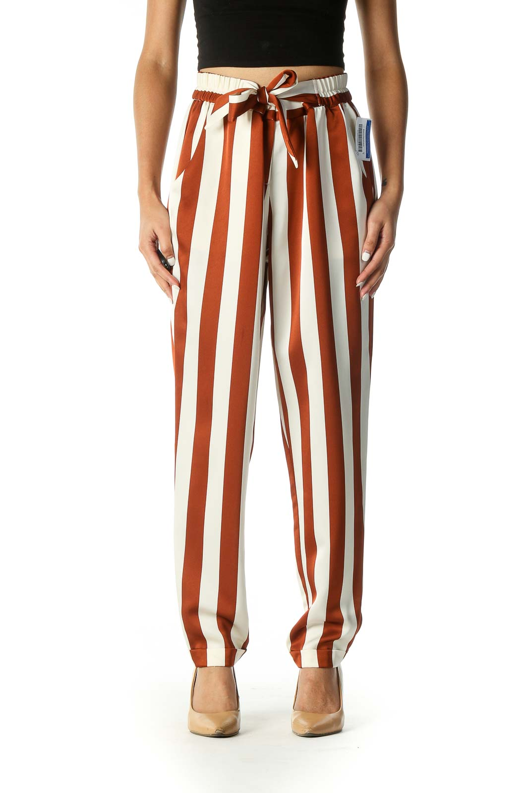 Orange Striped Casual Palazzo Pants Front