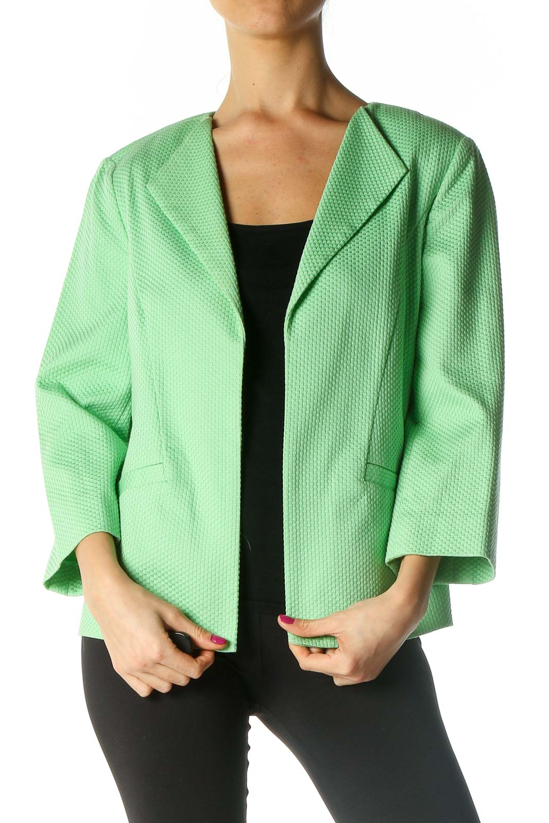 Green Textured Jacket Front