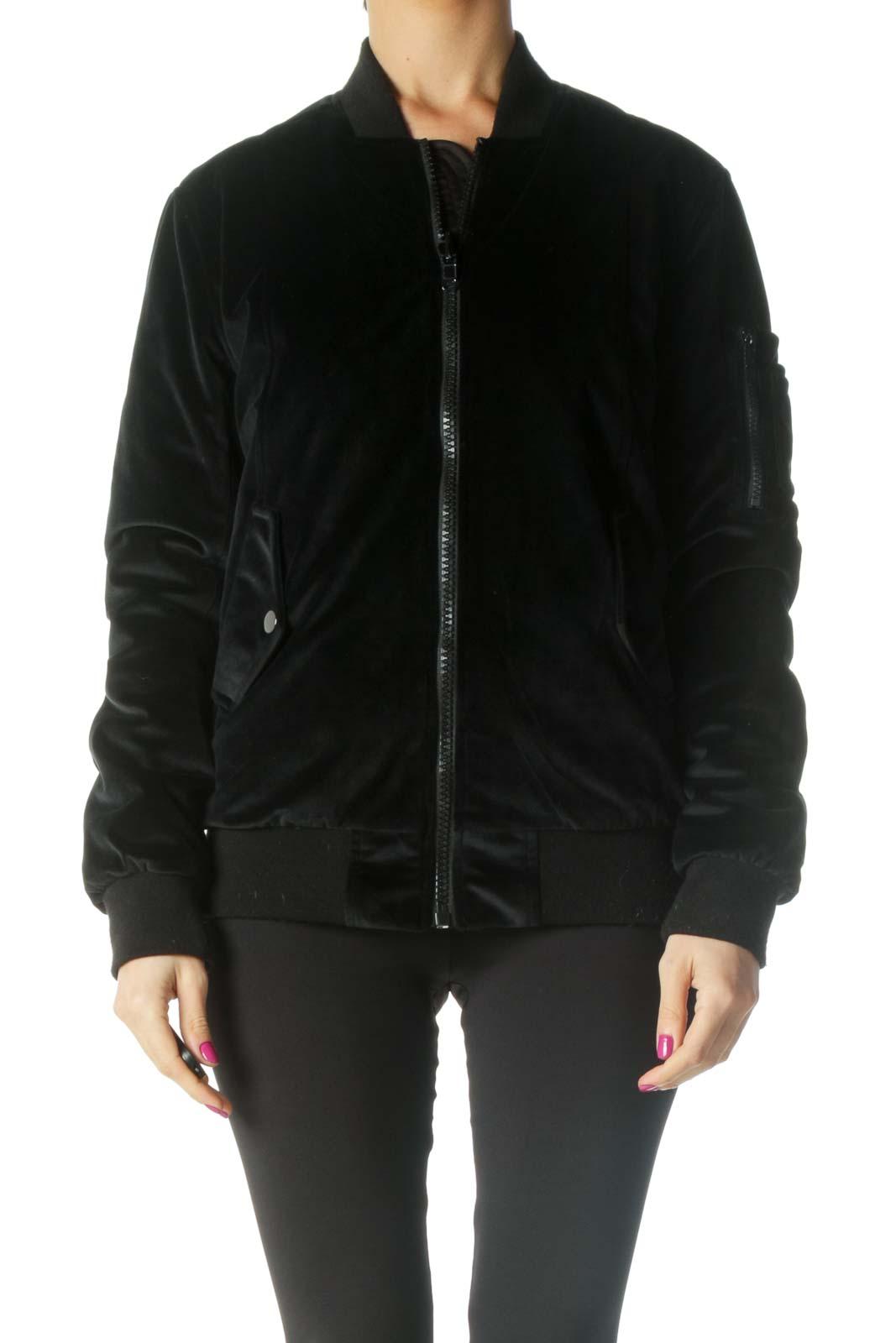Black Bomber Jacket Front