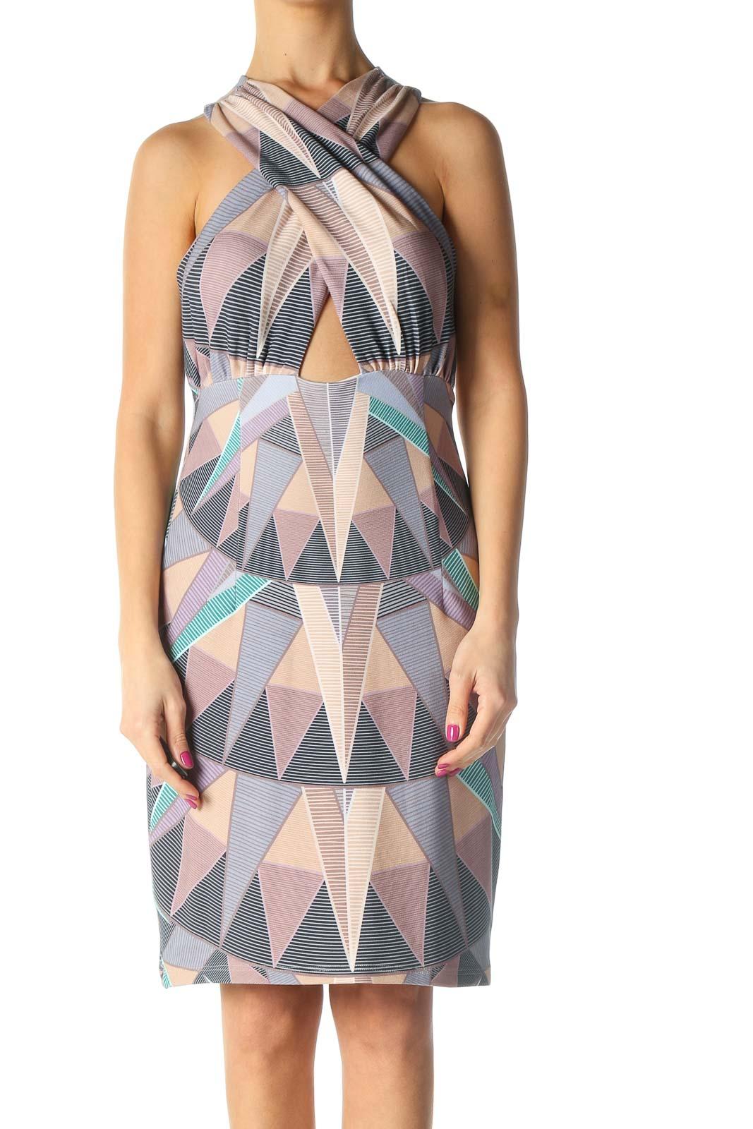 Beige Chic A-Line Dress Front