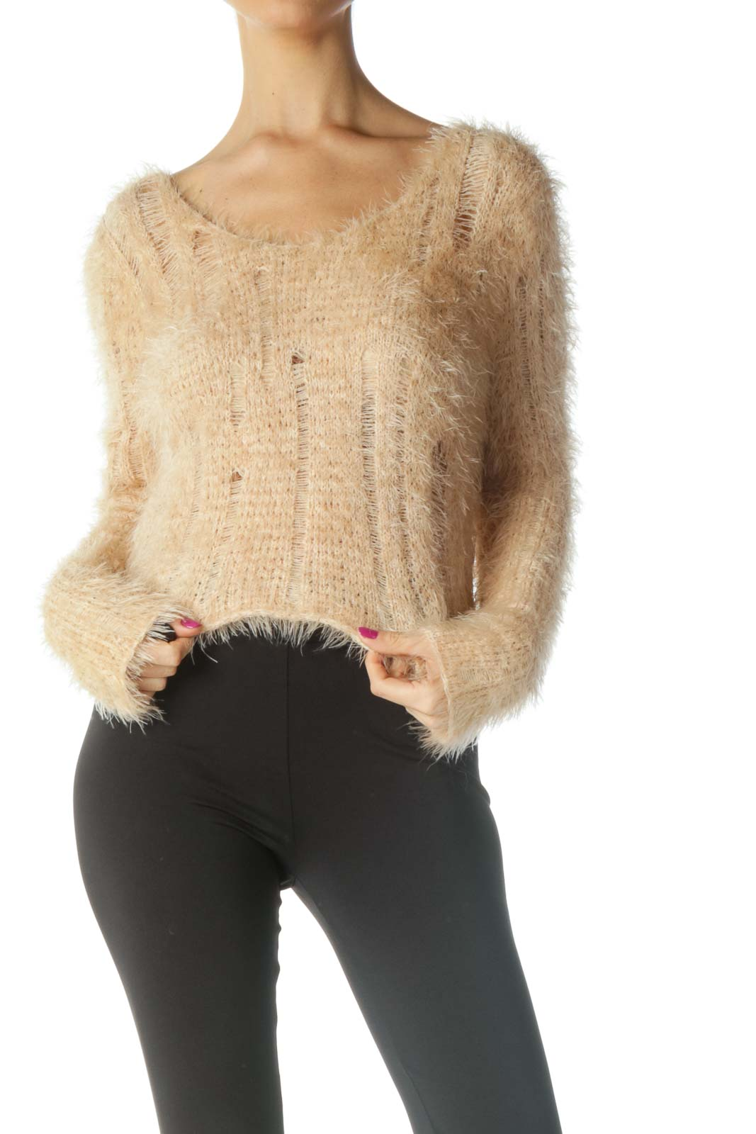 Beige Cropped Sweater Front
