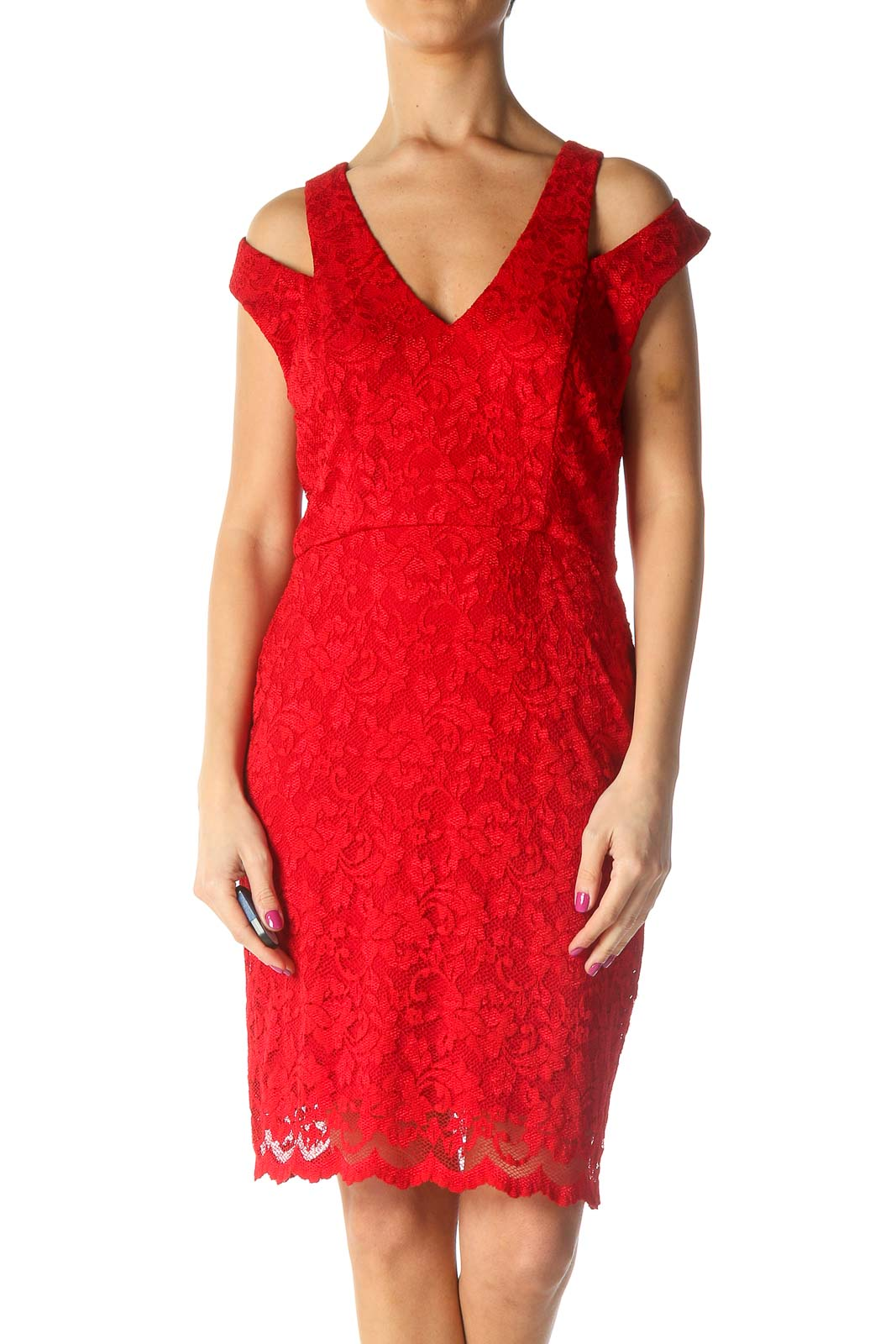 Red Lace Retro Sheath Dress Front