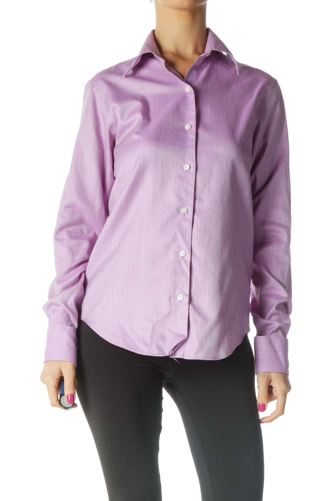 Pink Solid Casual Shirt Front