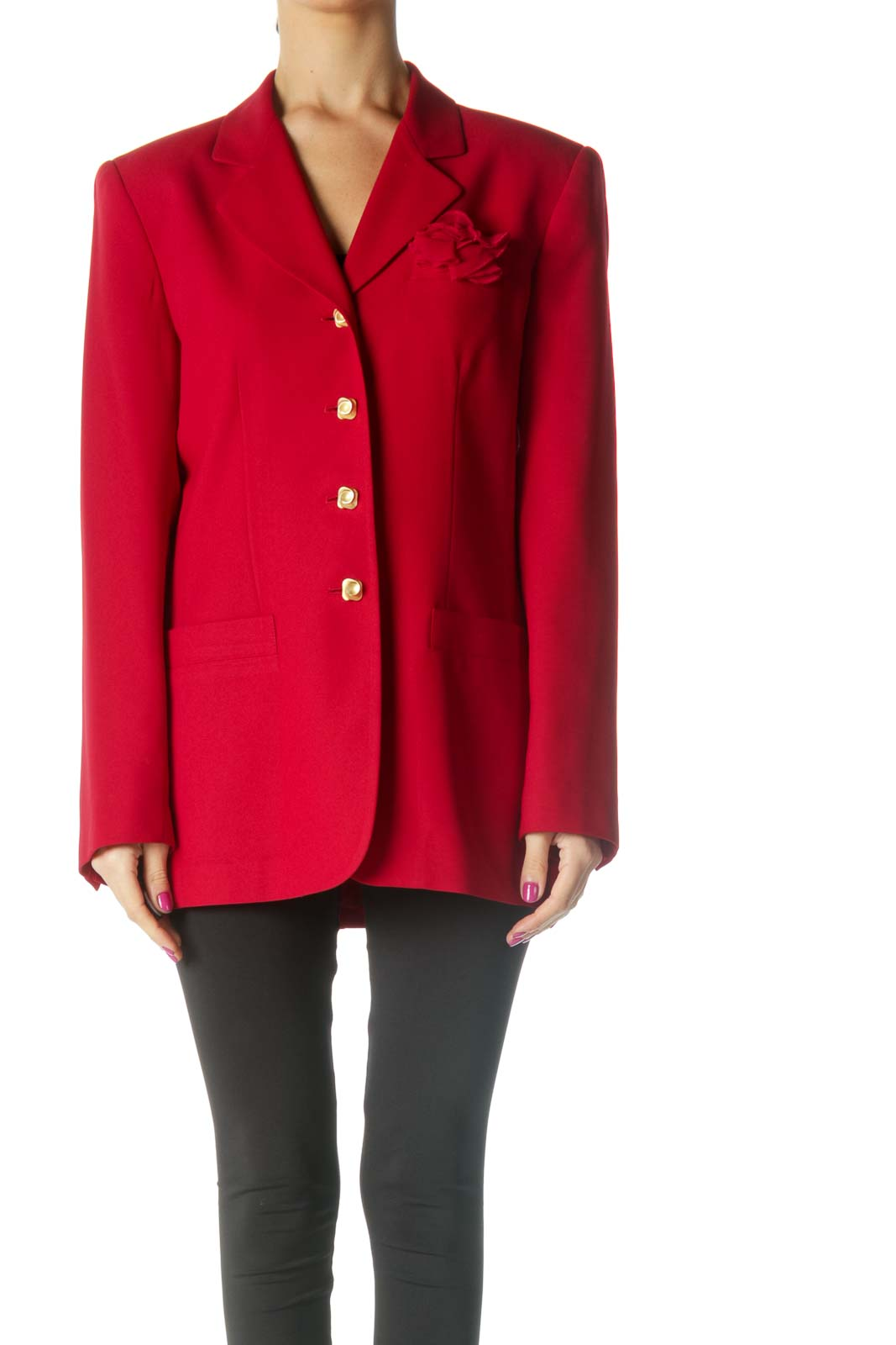Red Single Breasted Blazer Front