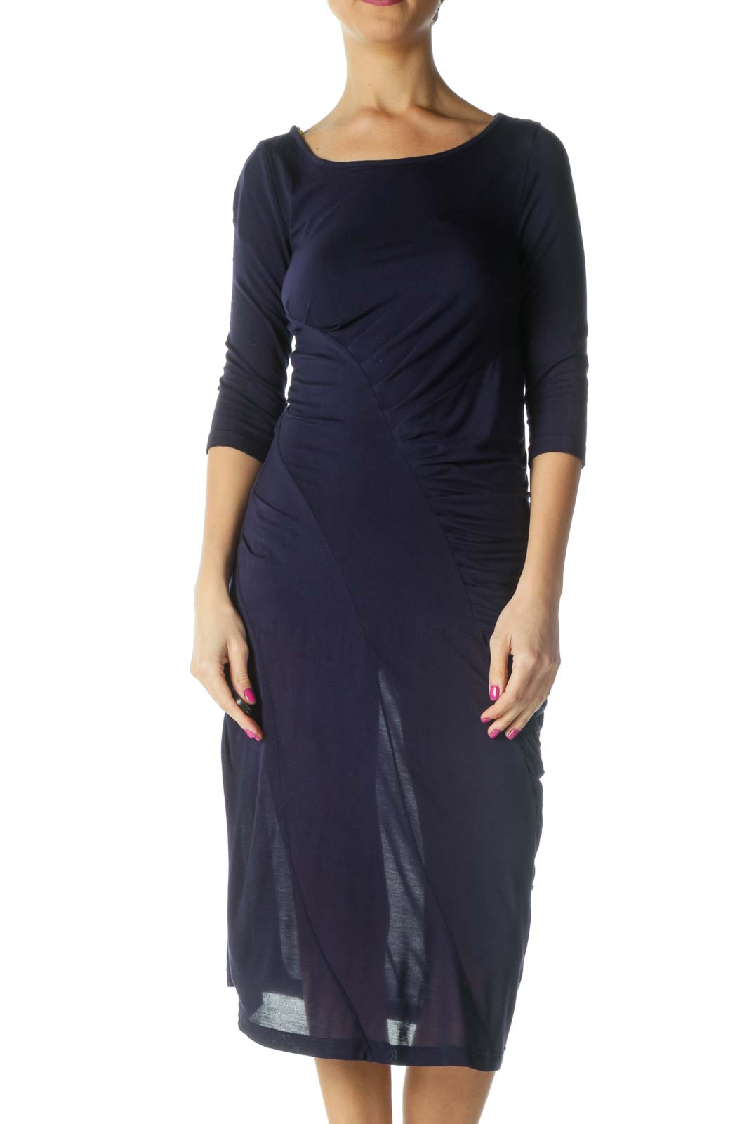 Blue Solid Casual Shift Dress Front