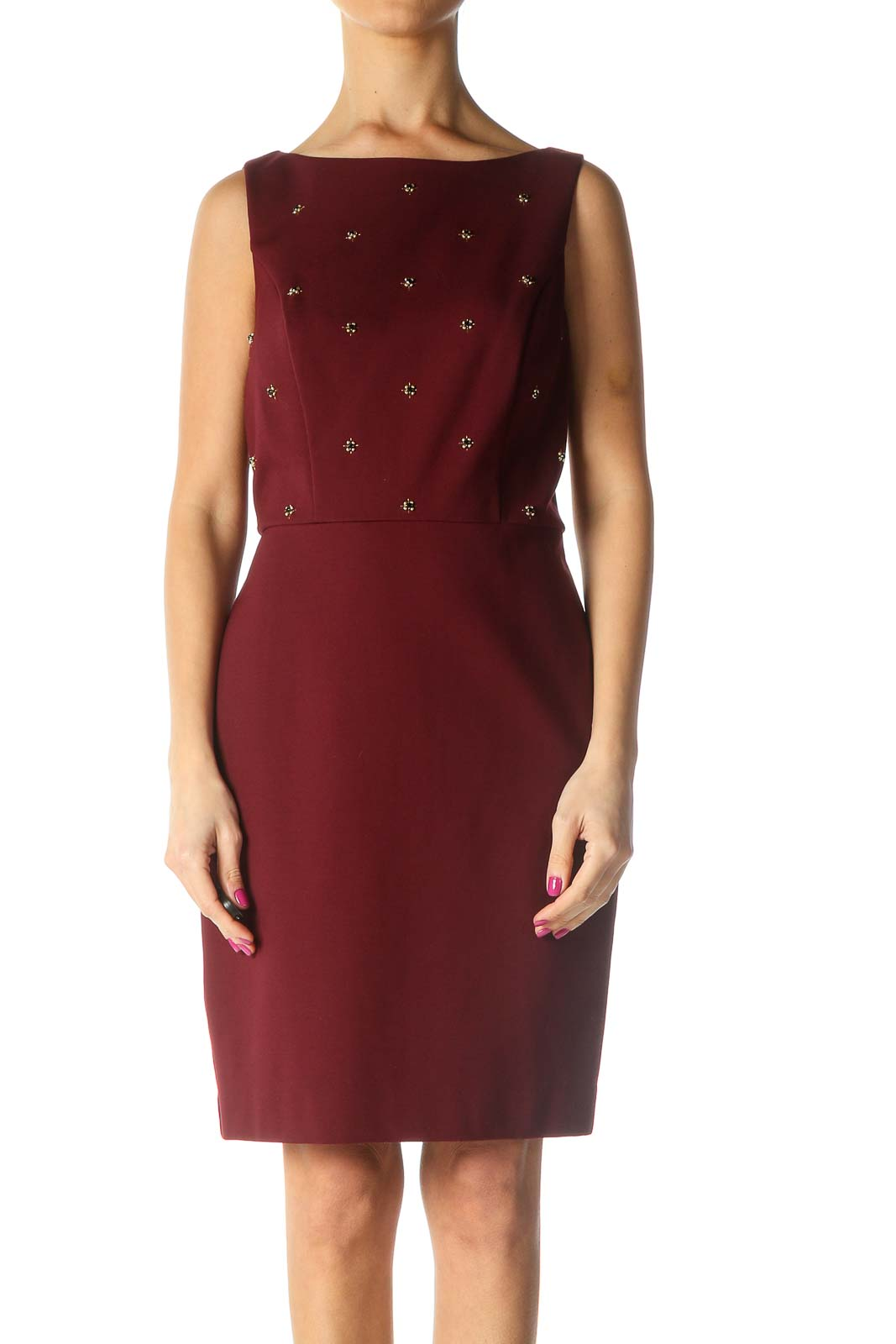 Red Solid Chic Sheath Dress Front