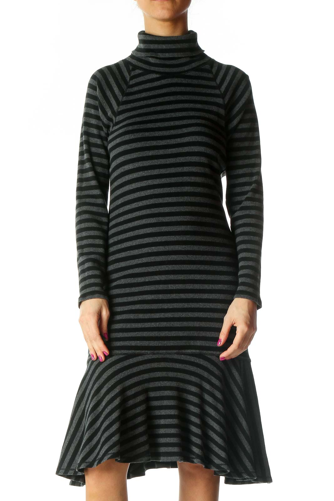 Gray Striped Casual A-Line Dress Front