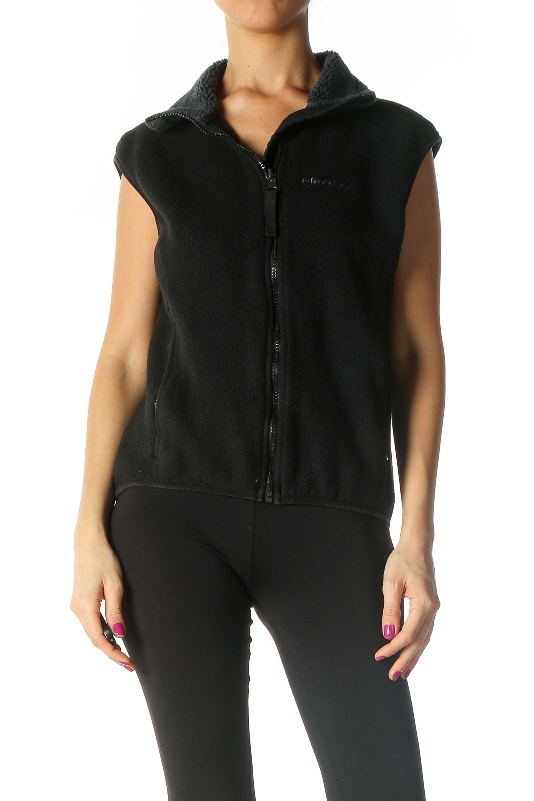 Black Fleece Vest Front