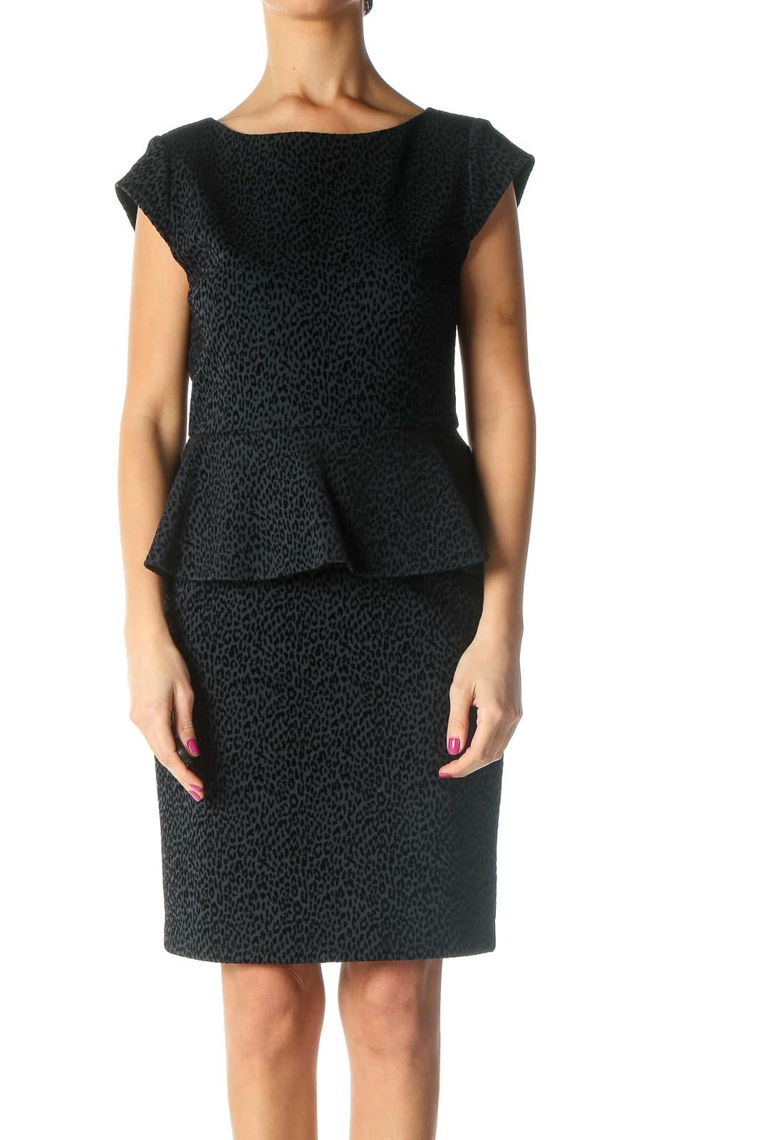 Black Textured Dress Front