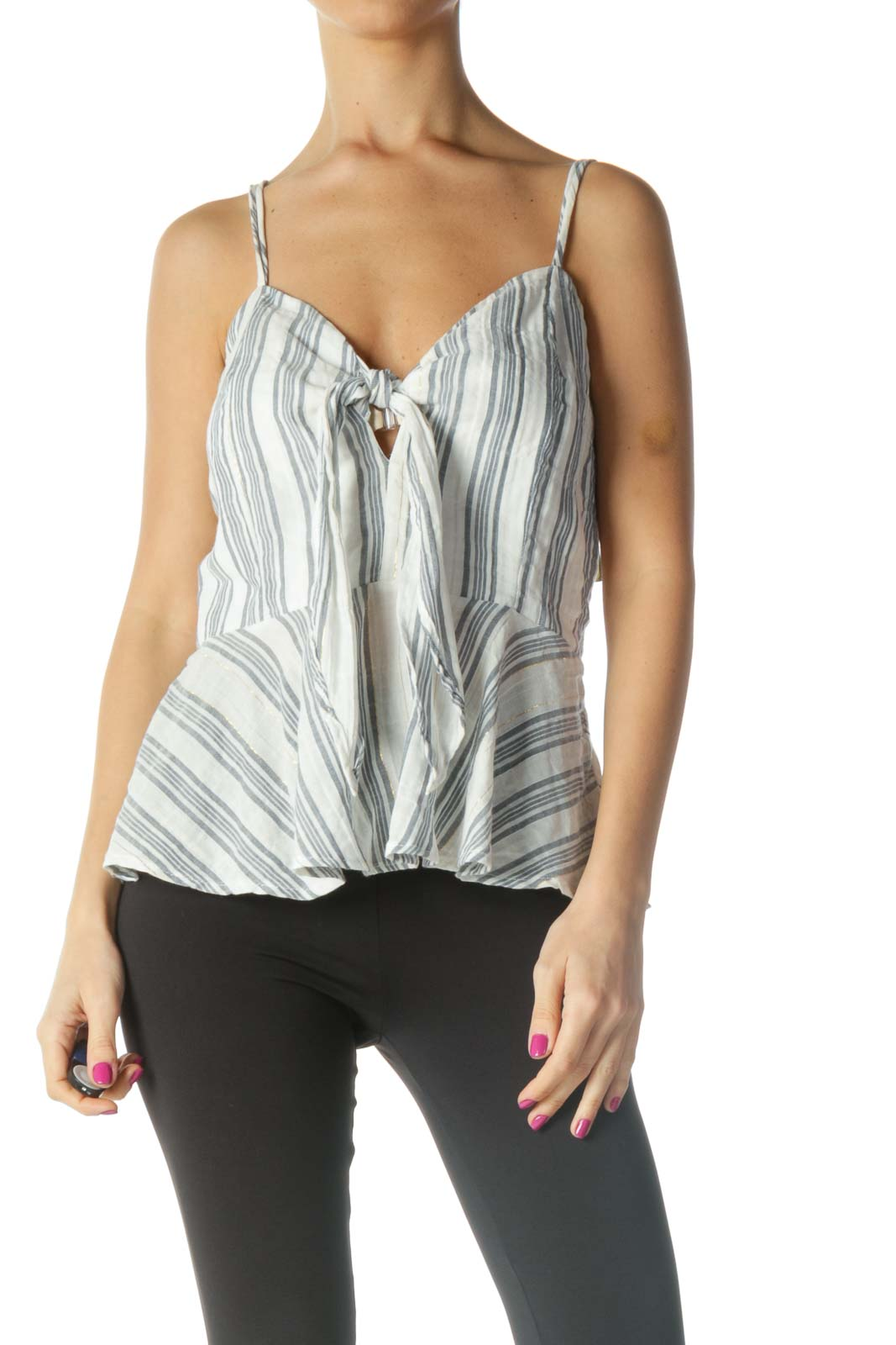 White Striped Holiday Blouse Front