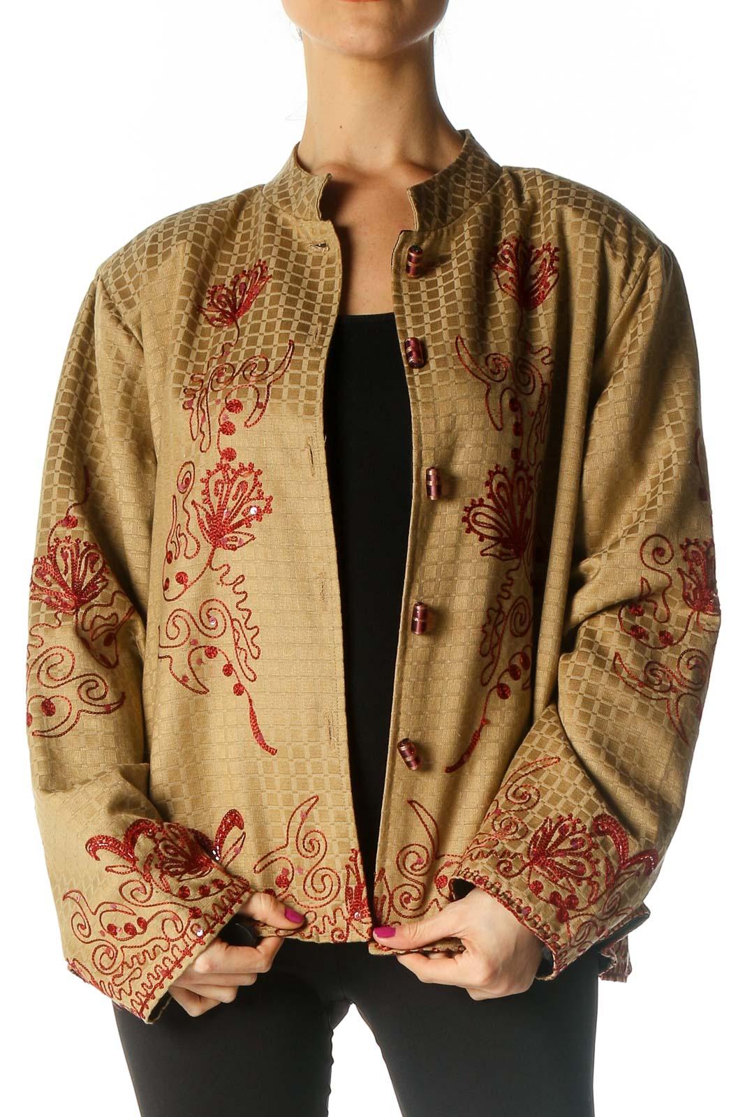 Beige Embroidered Jacket Front