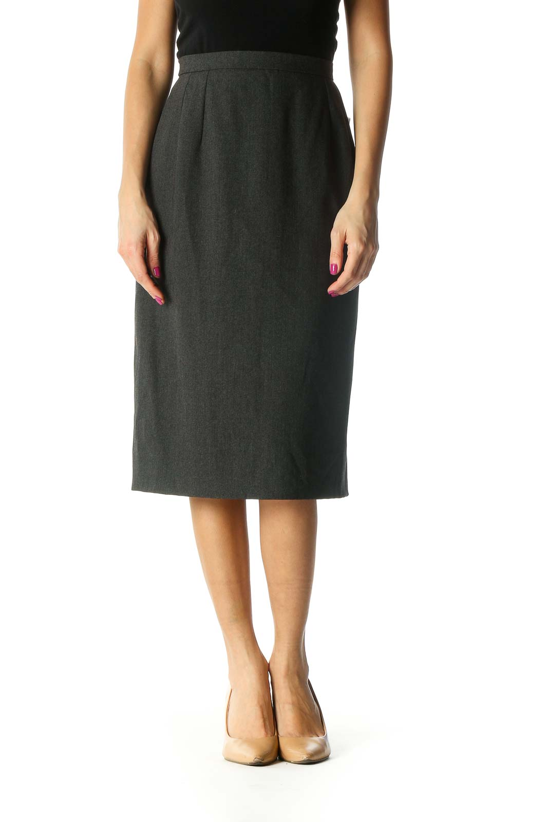 Gray Solid Classic Straight Skirt Front